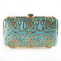Bag clutch, Vanda blue, satin, and rhinestones