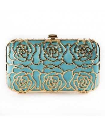 Bag clutch, Vanda blue, satin, and rhinestones
