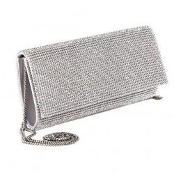 Bag clutch, Solange silver, satin, and rhinestones