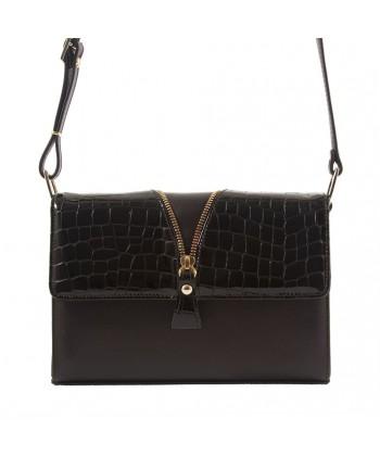 Shoulder bag, Venerina, Brown, leather