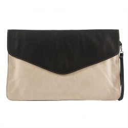 Bag clutch, Rita Beige, leather