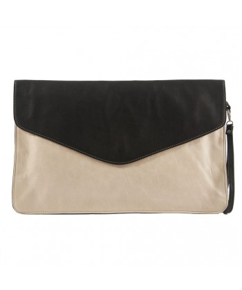 Bag clutch, Rita Beige, leather
