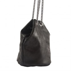 Shoulder bag, Amedea, Black, leather