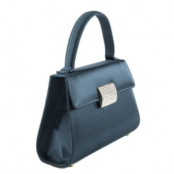Borsa clutch, Bice Blu, In raso