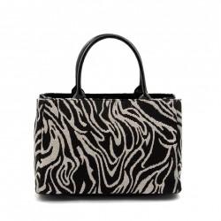 Handtasche, Jeri schwarz-weißen stoff mit perlen