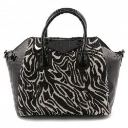 Handtasche, Jodi schwarz-weißen stoff mit perlen