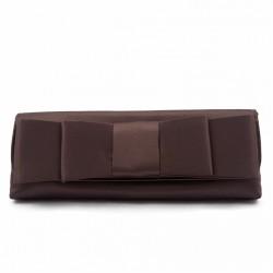 Borsa clutch, Hester Cioccolato, in raso con fiocco