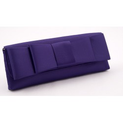 Bag clutch, Hester Viola, made in satin with bow