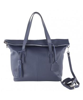 Handtasche, Flavia Blau, leder