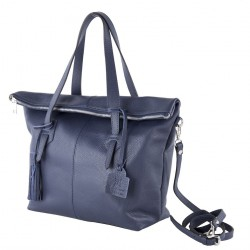 Hand bag, Flavia Blue, leather