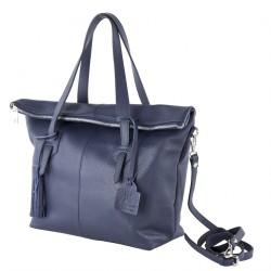 Hand bag, Flavia Blue, leather