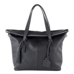 Hand bag, Flavia Black leather