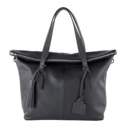 Hand bag, Flavia Black leather