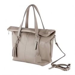 Hand bag, Flavia Beige, leather
