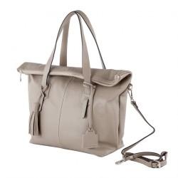 Handtasche, Flavia Beige, leder