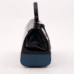 Sac à main, Jewell Noir brillant en cuir, fabriqué en Italie