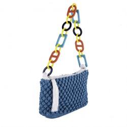 Bolso de hombro, Gloria Azul, algodón