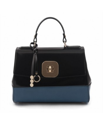 Borsa a mano, Jewell Nera, in pelle lucida, made in Italy