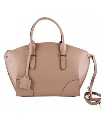 Shoulder bag, Alyssa Beige, leather