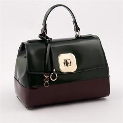 Handtasche, Jewell, Grün, glänzendes leder, made in Italy