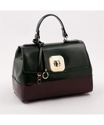 Hand bag, Jewell Green, glossy leather, made in Italy