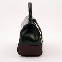 Sac à main, Jewell Vert, brillant en cuir, fabriqué en Italie