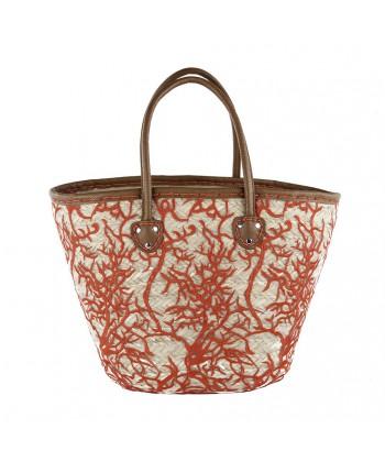 Hand bag, Claretta Red, straw
