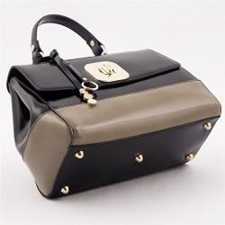 Bolso de mano, Jewell Negro y beige, cuero brillante, hecho en Italia