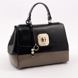 Hand bag, Jewell Black, and beige, shiny leather, made in Italy