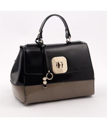 Handtasche, Jewell, Schwarz und beige, leder, glänzend, made in Italy