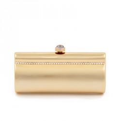 Borsa clutch, Vivienne Oro, in metallo satinato