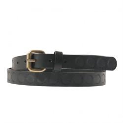 Belt Brando Black leather with printing, sports