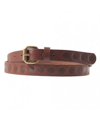 Belt, Brando Brown, leather with printing, sports