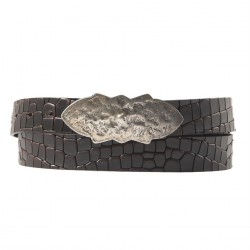 Belt, Louis Brown, in leather with coconut print, sports