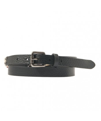 Belt, Ludo Black, leather with ivory inserts, sports