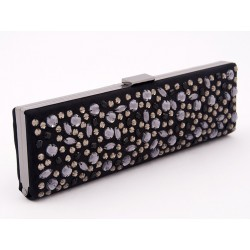 Bag clutch, Lorene Black, in eco-suede with rhinestones