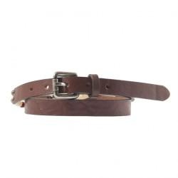 Cinturón Hombre piel marrón oscuro con marfil inserta, deportes