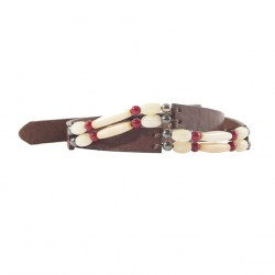 Belt, Ludo dark brown leather with ivory inserts, sports
