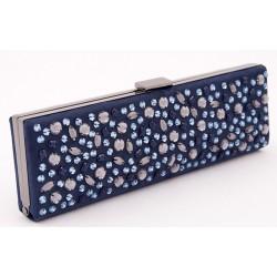 Borsa clutch, Lorene Blu, in eco pelle scamosciata con strass