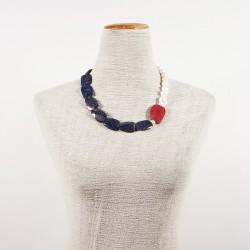 Halskette, Venus, blau, perlen, wurzel rubin und laspislazzuli, made in Germany, limited edition
