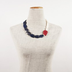 Necklace, Venus blue, pearls, root of ruby and laspislazzuli, made in Italy, limited edition