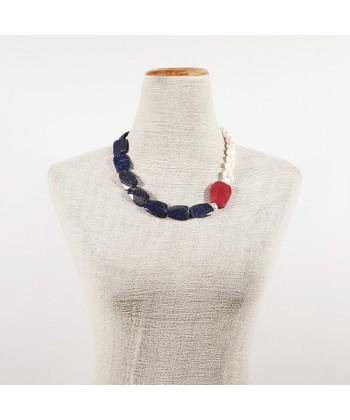 Collana, Venere blu, in perle, radice di rubino e laspislazzuli, made in Italy, limited edition