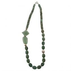 Collar, Demetra verde, turquesa y jade, hecho en Italia, edición limitada