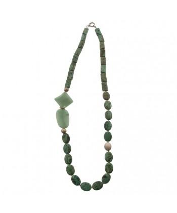 Colar, Demetra verde, turquesa, e xade, feita en Italia, edición limitada