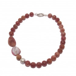Collana, Cloe Rosa, in agata ea avventurina rossa, made in Italy, limited edition