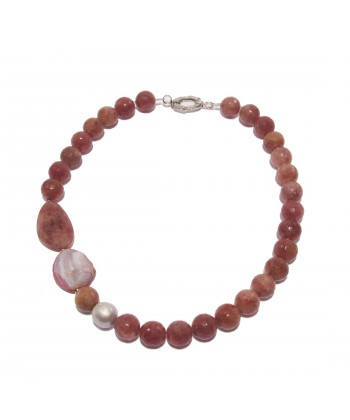 Necklace, Chloe Pink, agate ea aventurine red, made in Italy, limited edition