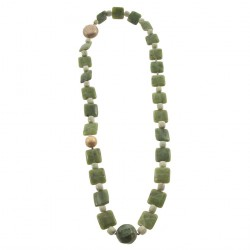 Necklace, Hebe Green, pearls, jade and crisocolla, made in Italy, limited edition