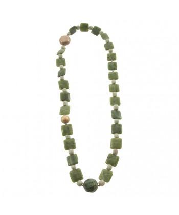 Collier, Hebe Vert, perles, jade et crisocolla, fabriqué en Italie, édition limitée