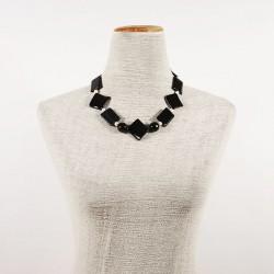 Collier, Daphne noir, onyx rayé, et de perles, fabriqué en Italie, édition limitée
