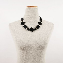 Necklace, Daphne black, onyx striped, and pearls, made in Italy, limited edition
